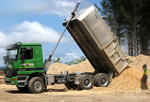 truck loads of tree chippings