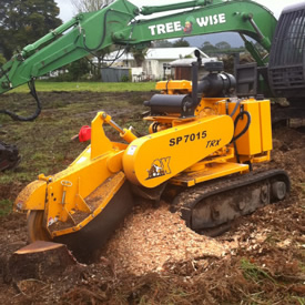 Stump grinder removing a stump