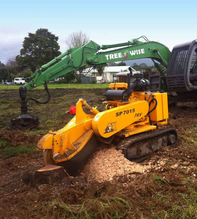 Stump grinding machine and excavator for stump removal in Whangarei